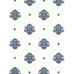 Schumacher Sch 5005351 Mayla Damask   Navy Wallpaper