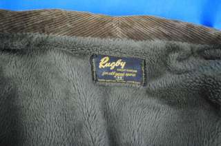 Mens Brown Corduroy Warm Jacket Coat Rugby Sportswear Size 38