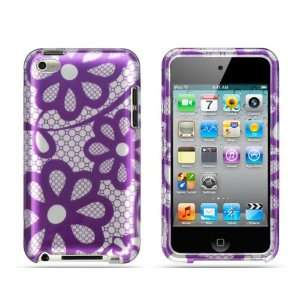 Hard Protector Cover for Apple IPOD TOUCH 4 CRYSTAL CASE PURPLE LACE