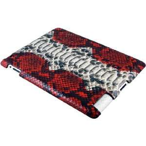 Genuine Python Snake Leather iPad 2 Case   Red/Natural