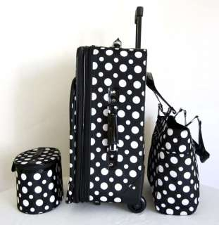 Carry On 3 pc Travel Set Bag Rolling Wheel Luggage Beauty Case Purse