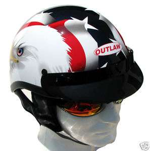 DOT Motorcycle Half Helmet USA Eagle Flag Gloss [2XL]