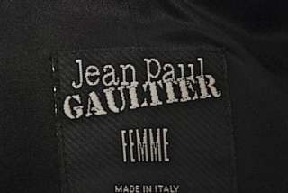 JEAN PAUL GAULTIER FEMME Black Wool/Rayon JACKET W/PEWTER Beads