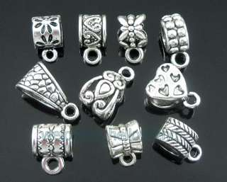 Free Ship 50 Mixed Tibetan Silver Bails Beads Fit Charm Bracelet ZY08