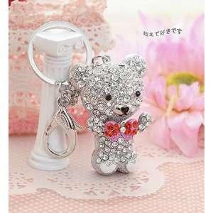 Lovely crystal teddy bear bag charm