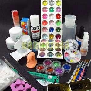 110 Pro Acrylic Powder Glitter Liquid Buffer File NAIL ART Brush Glue