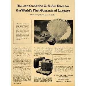 1954 Ad Air Force Luggage Fiberglass Travel Bags Koch