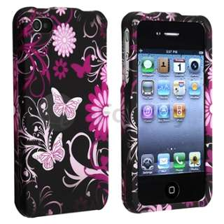 5x Flower w/Butterfly Hard Case Cover for iPhone 4 G 4S Black+Pink