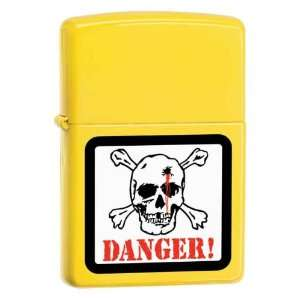 Custom Lighter   Danger Skull on Lemon Matte Logo