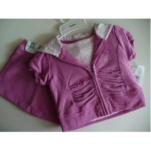 Absorba Baby Clothes Girl Berry Pink Butterfly T Shirt Hoodie & Skort