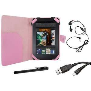 Cover Folio Leather Case (Pink) for  Kindle Fire Tablet