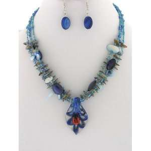 Jewelry ~ Blue Chipped Stone Faceted Crystals Beads with Ladybug