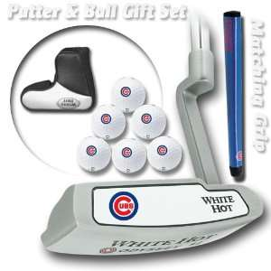 Chicago Cubs MLB Team Logod Golf Balls (6) and White Hot Putter