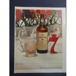 Whiskey. 1963 full page print advertisement. (flowers/big red 7/drinks