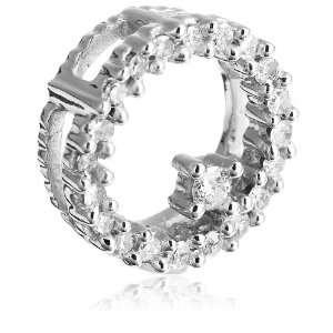 10k White Gold Diamond Circle Pendant (1/8 cttw, I J Color, I3 Clarity