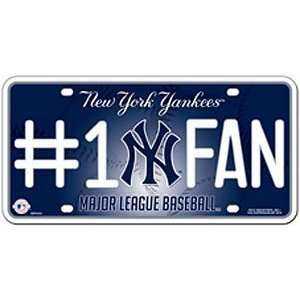 New York Yankees License Plate Number 1 Fan Sports & Outdoors