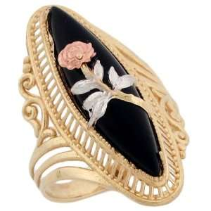 14k Solid Tri Color Gold Rose Flower Leaf Filigree Marquise Onyx Fancy