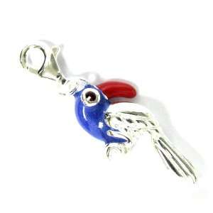 Sterling Silver Blue Red Enamel Parrot Macaw Bird 3d