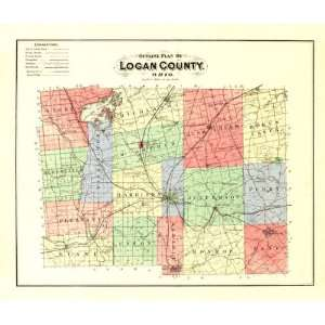 LOGAN COUNTY OHIO (OH) MAP 1890