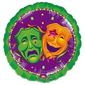 Gras 18 inch Round Comedy Tragedy Mask Foil Balloon: Toys & Games