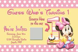 Baby Minnie Mouse BIRTHDAY INVITATION * SCRATCH OFF*
