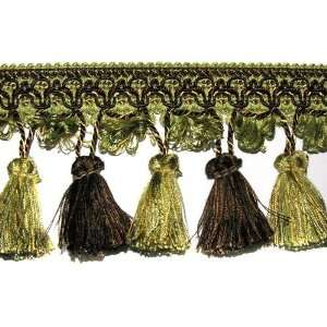 3.5 Tassel Fringe Trim Brown/Sage By The Yard Arts