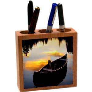 Rikki KnightTM Fishing boat at Dusk 5 Inch Tile Maple Finished Wooden