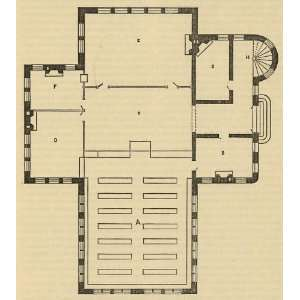 Floor plan for a small library,1885