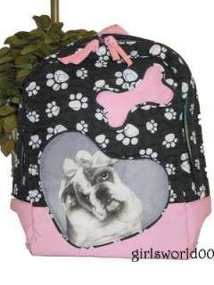 BULLDOG ~ DOG ~ PAW PRINT QUILTED BACKPACK PURSE ~ BAG