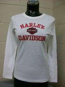 Harley Davidson® Ladies White/Pink L/S Tee HDD6 V429