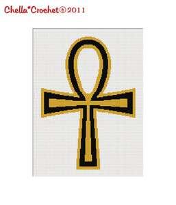 Ankh Cross Jesus Christian Religious Black Gold Afghan Crochet Pattern