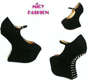 WOMENS LADIES SHOES BLACK SPIKE STUD HEEL LESS GAGA PLATFORM WEDGES