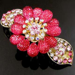 ADDL Item , AUT rhinestone crystal flower hair barrette