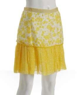 Dolce & Gabbana D&G yellow floral silk ruffle skirt   up to 70