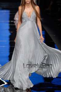 Runway Pleated Satin Beaded V Neck Ball Gown Long Evening Prom Dress