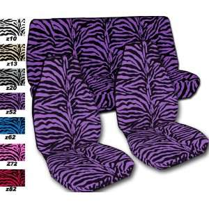 Complete set of Purple Zebra seat covers for a 2011 Chevy Camaro