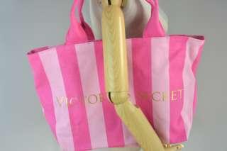 Secret Pink Stripe Canvas Tote Bag Beach Bag   Brand New