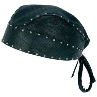 Biker/Motorcycle Solid Leather Skull Cap with Studs