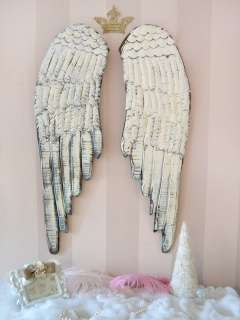 Angel Wings Long White Rustic French Style Holiday Wall Pair