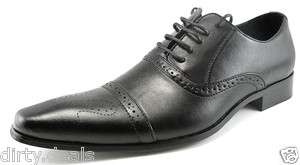NEW OFFICE STYLISH FORMAL OXFORDS LACE UPS LEATHER MENS BLACK DRESS