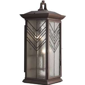 Aluminum Wall Lantern with Glue Chip and Water Glass Insets, Heirloom