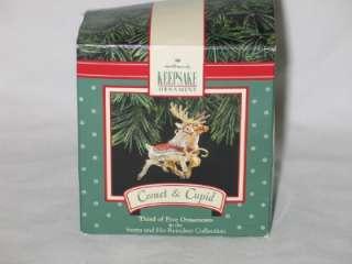 1992 Hallmark Comet & Cupid Reindeer Christmas Ornament IOB T24