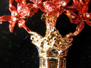 Vintage Red Poinsettia Christmas Tree Pin Brooch Rhinestones