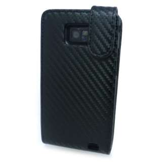 Slim Black Carbon Fibre Flip Leather Case Cover for Samsung Galaxy S 2