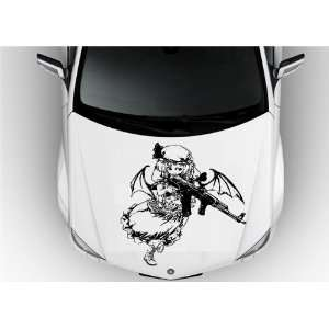 Anime Car Vinyl Graphics Girl with Rifle Gun Shots S6869
