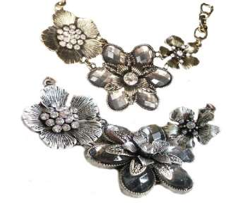 Color Optional Rhinestone Crystal Petal Flower Necklace Pendant