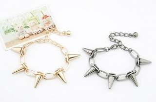 Hot Gothic Punk Rock Rivets Spike Taper Stud Charms Circle Link Chain