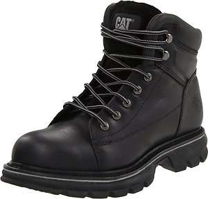 CATERPILLAR Mens Valor Mike Rowe Steel Toe Work Boots Black Leather