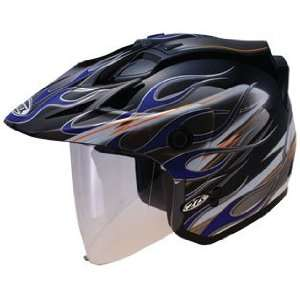 GMAX GM 27 Open Face Motorcycle Helmet   Black   Blue