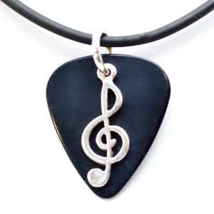 Guitar Pick Necklace with Music Clef Note Charm on Black